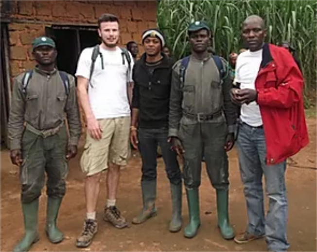 Simon Hoggett, Samuel Billa Fru, Denis Nyugha and two eco-guards from Kom-Wum Forest Reserve